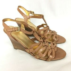 Ivanka Trump 6.5 Wedge Sandals Brown Tan Leather S